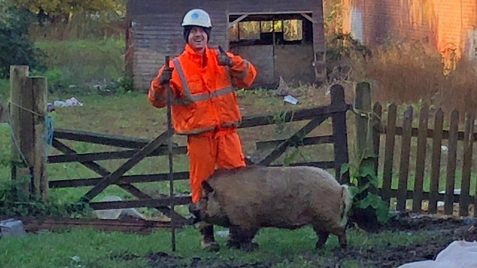Thames Water engineer and pig