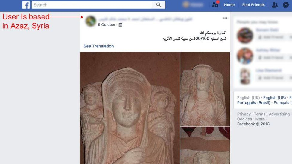 Facebook page claiming to offer statues from Palmyra, Syria