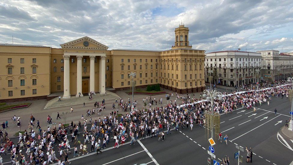 Protesters staged big marches in several cities, including in the centre of the capital Minsk
