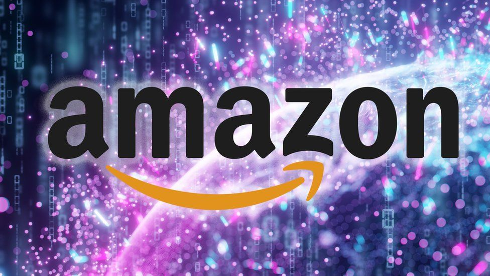 """Amazon logo seen against a brightly coloured """"data stream"""" abstract concept"""