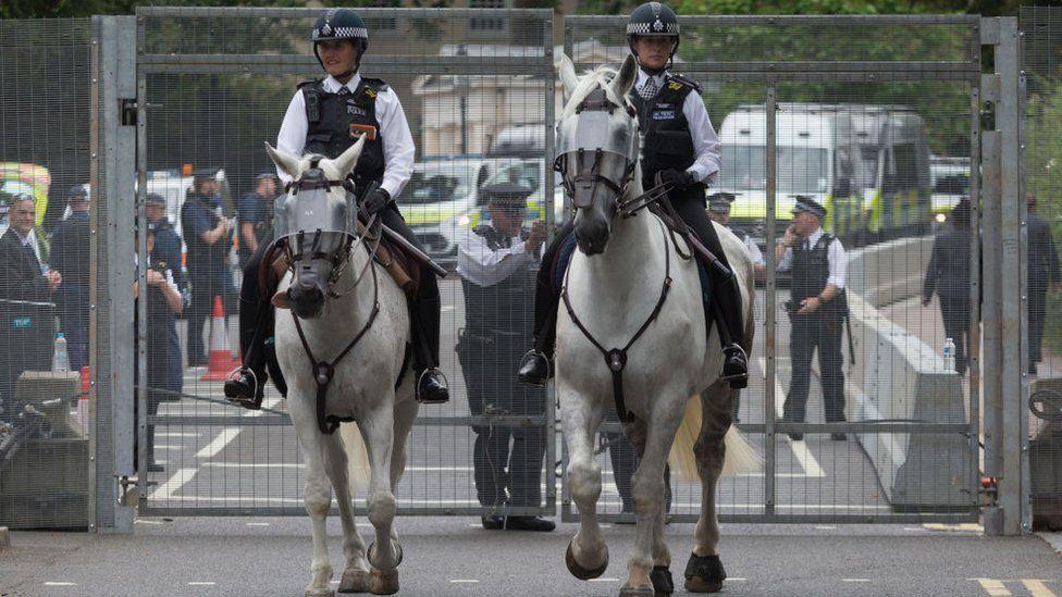 Police officers on horses in Regent's Park
