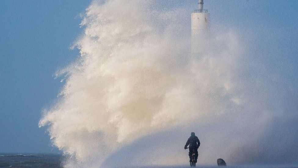 Huge waves crash into the seafront at Aberystwyth