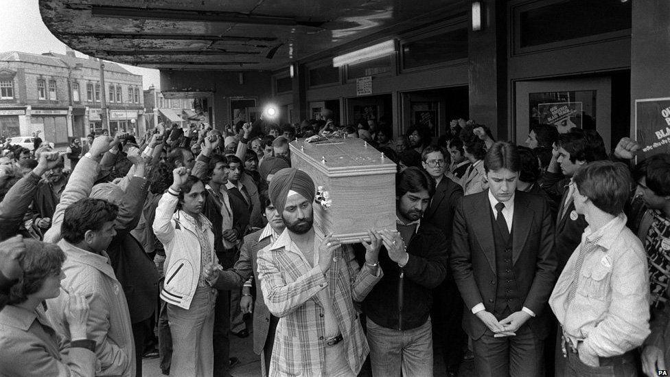 Blair Peach's coffin