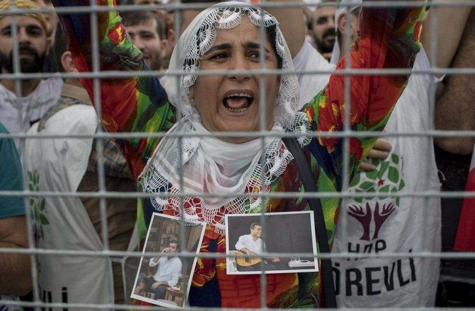 Supporters of Selahattin Demirtas, presidential candidate of People's Democratic Party (HDP)