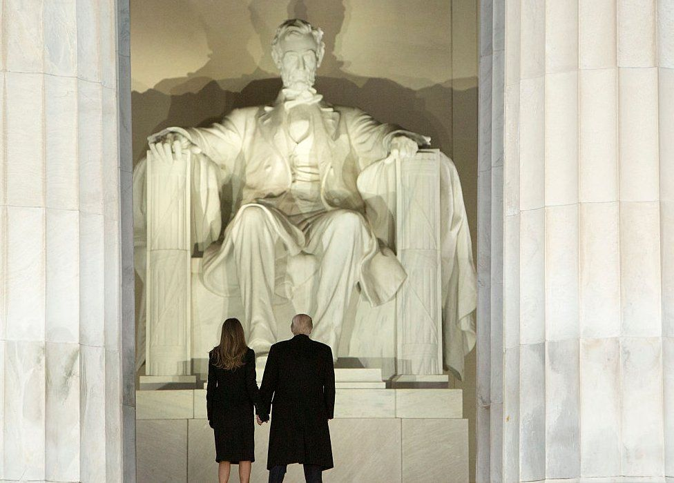 President-elect Donald J. Trump and wife Melania Trump arrive for the inaugural concert at the Lincoln Memorial in January 19, 2017 in Washington, DC.