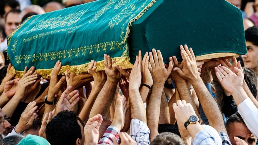 The funeral of Mohammed Eymen Demirci, a ground services crew member