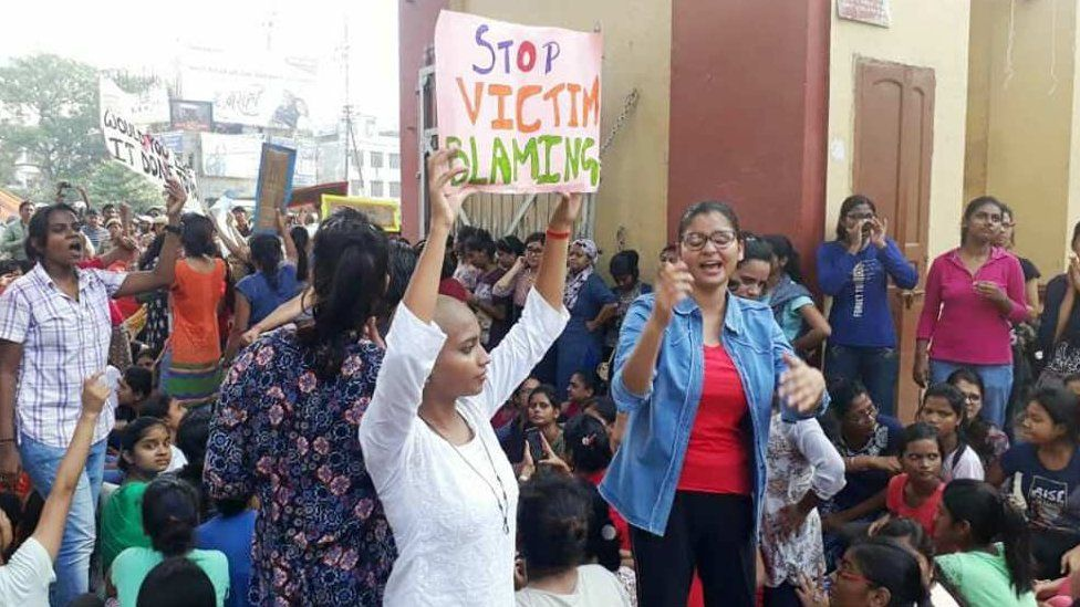 Protesting students at BHU over the weekend