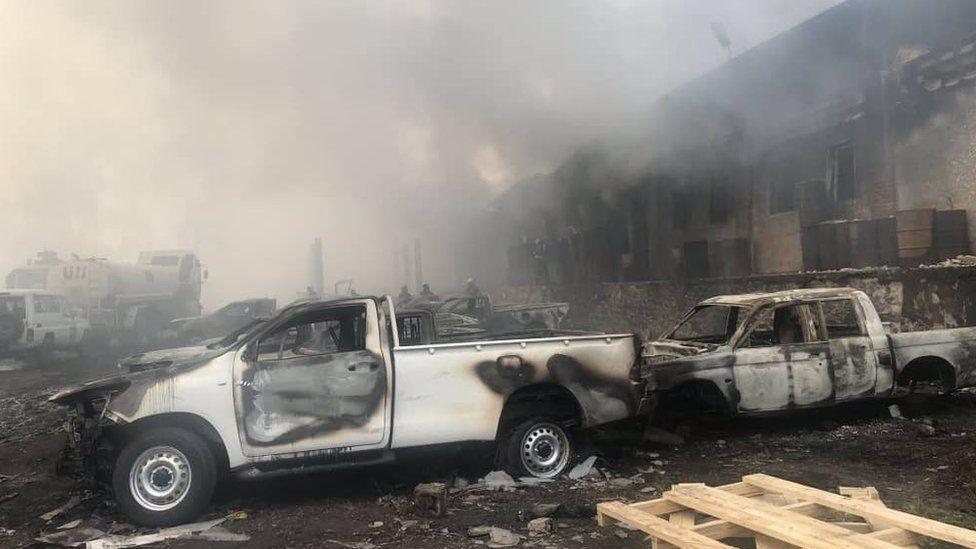 Damage from the blaze in Kinshasa