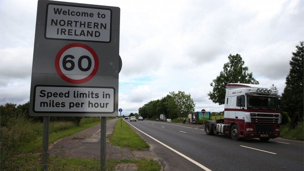 The border between the Republic of Ireland and Northern Ireland in the village of Bridgend, Co Donegal.