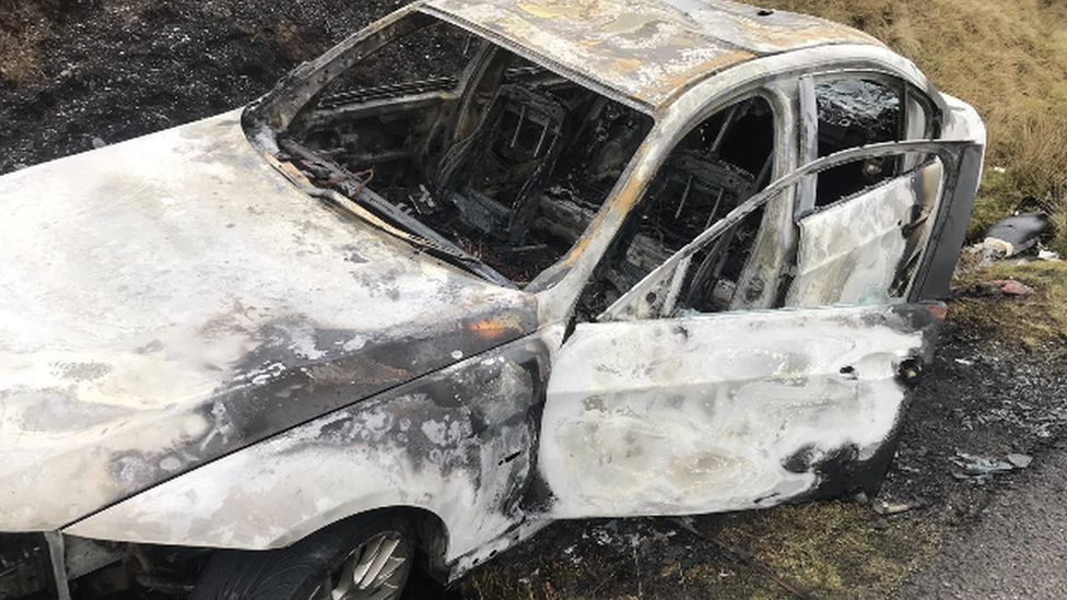 The BMW was later found burnt out