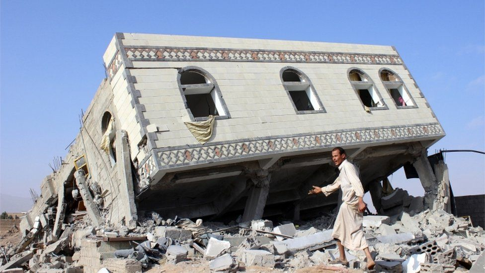 Man walks on rubble after a Saudi-led air strike on Sadaa (file photo)