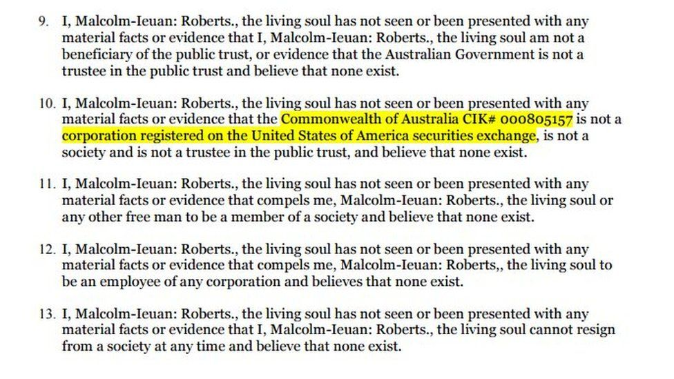 A screen grab of the letter Mr Roberts sent to Ms Gillard