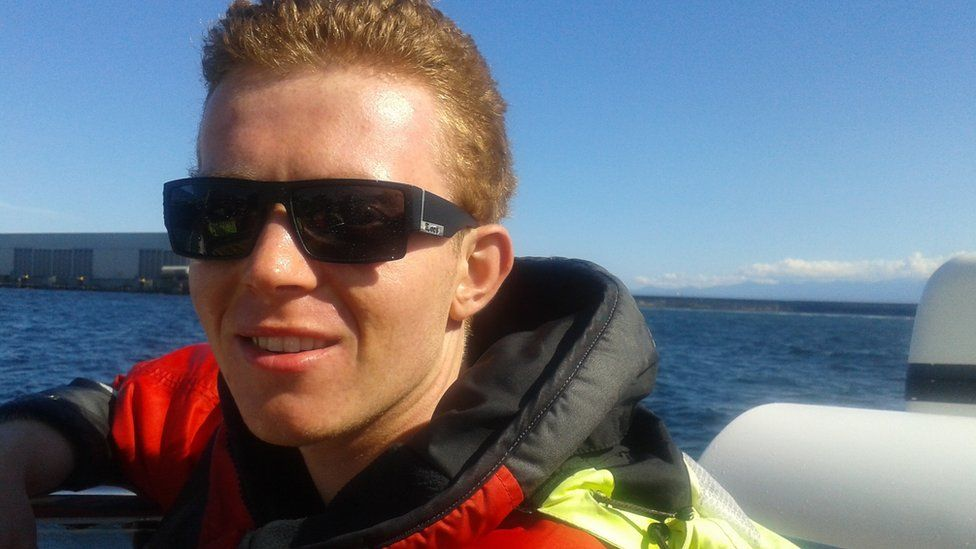 Alex Roberts whale watching on his 21st birthday