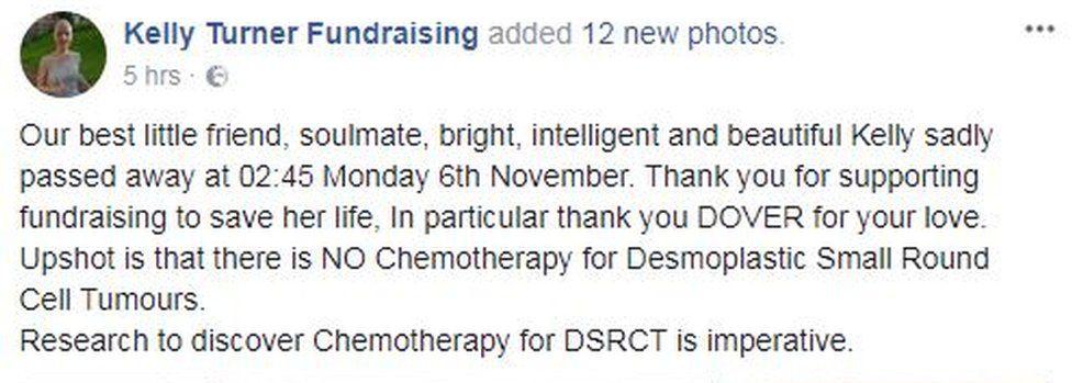 Kelly Turner Facebook Fundraising post
