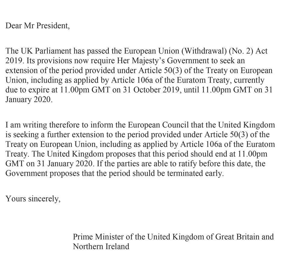 Boris Johnson's unsigned letter