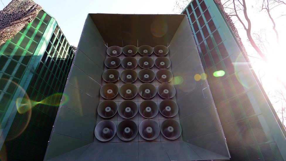 A loudspeaker stack is seen at a military base near the border between South Korea and North Korea on 8 January 2016 in Yeoncheon, South Korea.