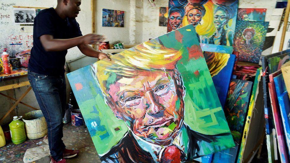 Painting of Trump by Kenyan artist