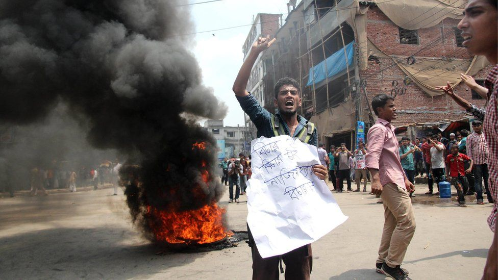 Students of the Jagannath University (JnU) demonstrate and set fire to a pile of bicycle tires as they protest against the murder of fellow student and online activist, 25-year-old law student Nazimuddin Samad, in the old part of Dhaka, Bangladesh, 07 April 2016.