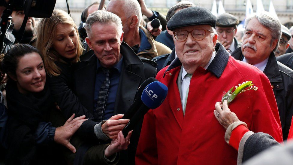 Jean-Marie Le Pen at a rally in Paris on 1 May 2017
