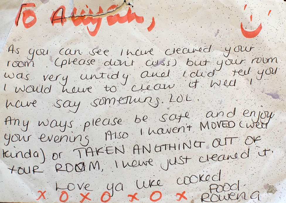 Note from Rowena to Aliyah