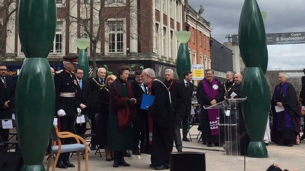Princess Anne attended the service on Bridge Street