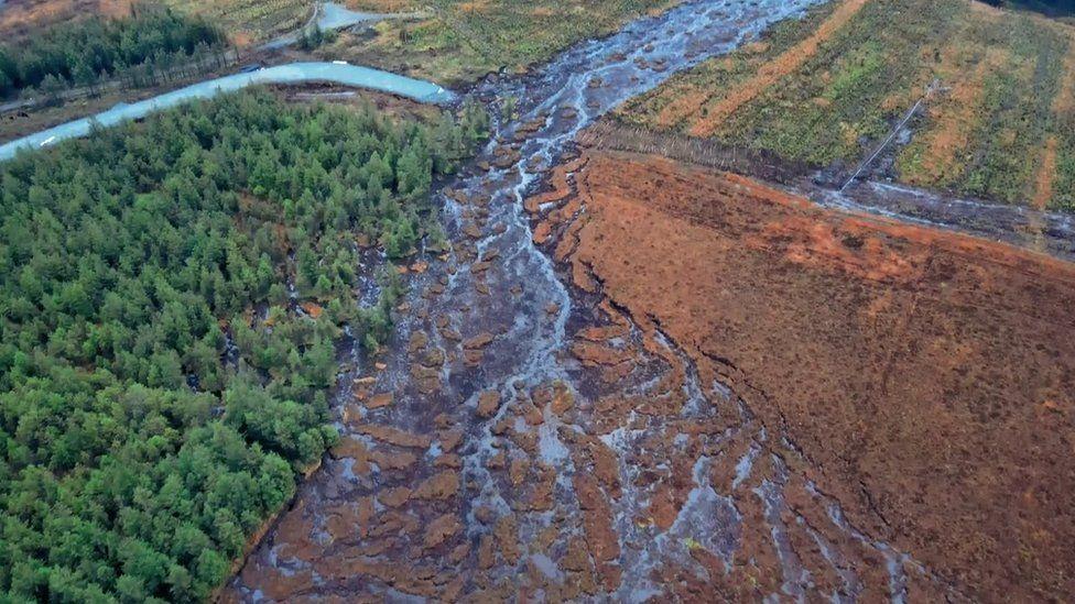 Aftermath of peat bog landslide in County Donegal