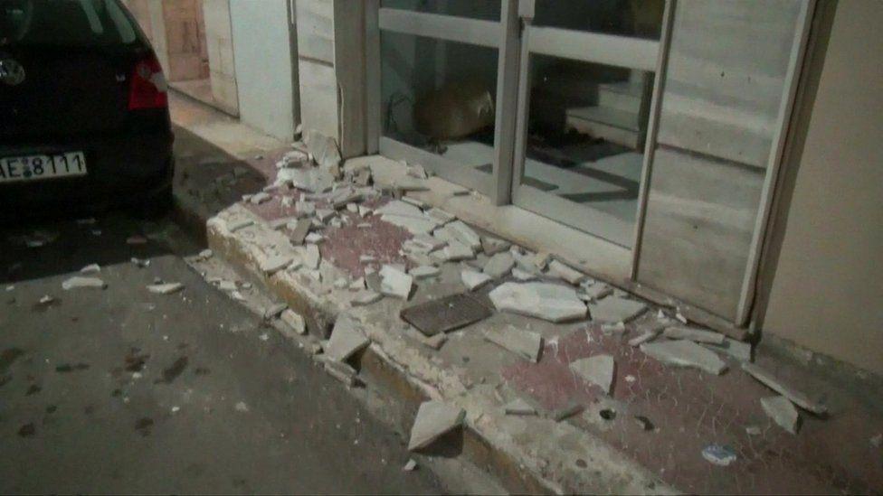 Damage to a building on Zakynthos
