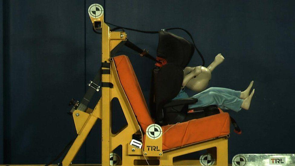 Dummy sitting in test car seat