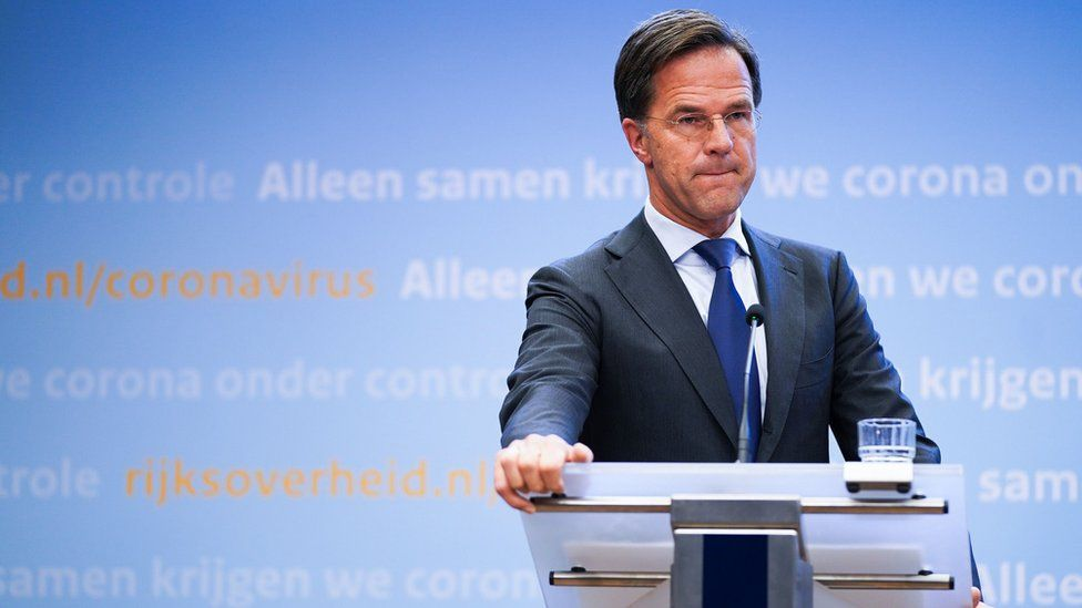 Dutch Prime Minister Mark Rutte provides an explanation of the tightening of the coronavirus measures in the Netherlands, during a press conference in The Hague, the Netherlands, 13 October 2020