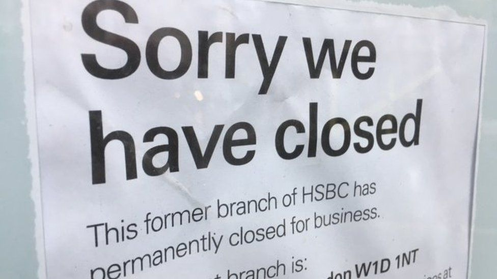 notice on bank: Sorry we have closed