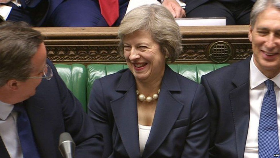 David Cameron jokes with his successor during Prime Minister's Questions