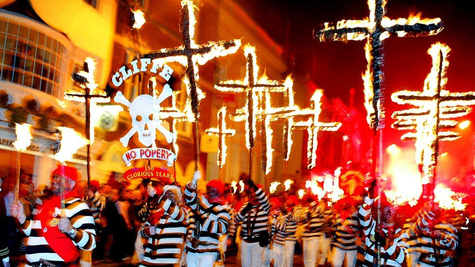 The streets are flooded with parades during Lewes bonfire night