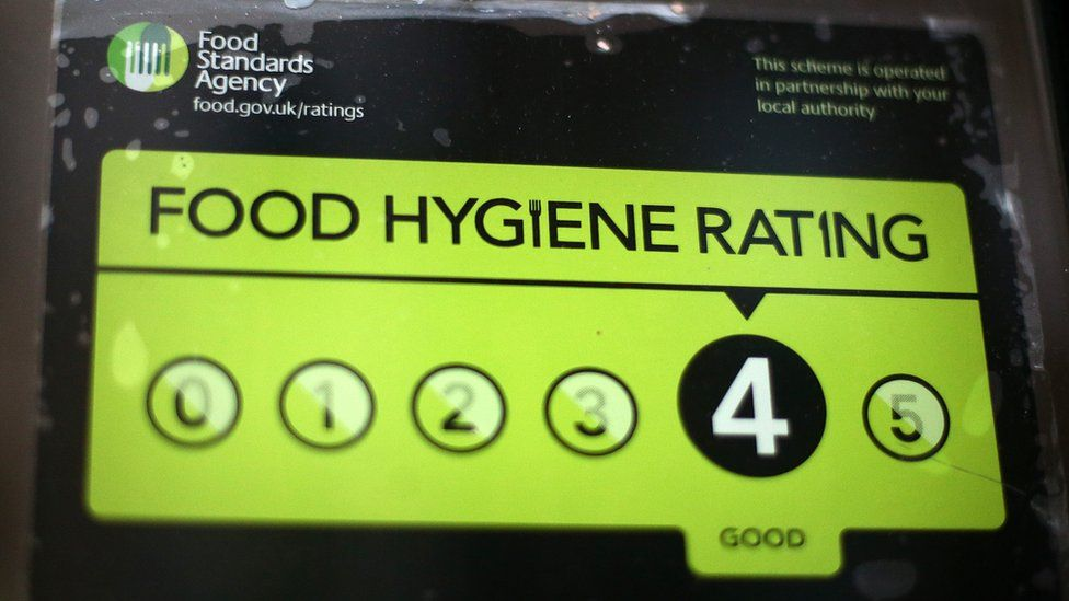 A Food Standards Agency rating certificate is pictured in the window of a restaurant on February 9, 2015 in London, England