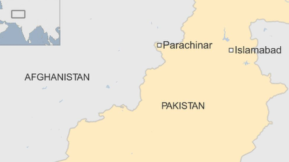 A map showing Parachinar in Pakistan, where a bomb has killed at least 18 people at a marketplace