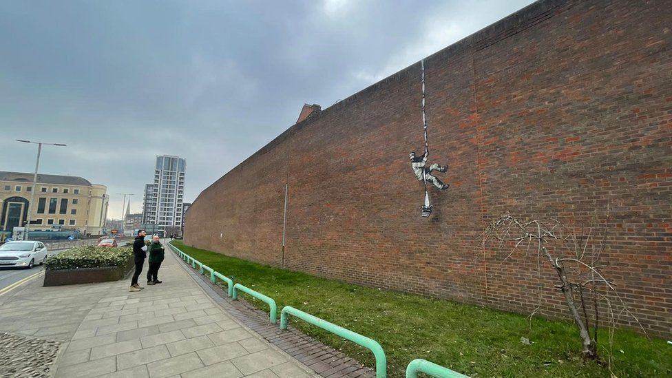 Possible Banksy artwork on wall of Reading Prison