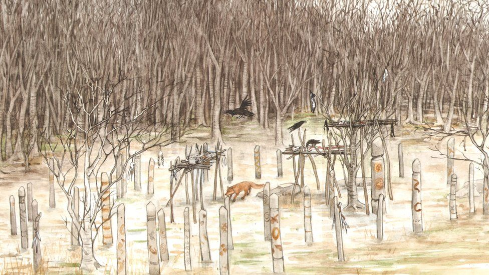 Artist's impression of Neolithic mortuary enclosure