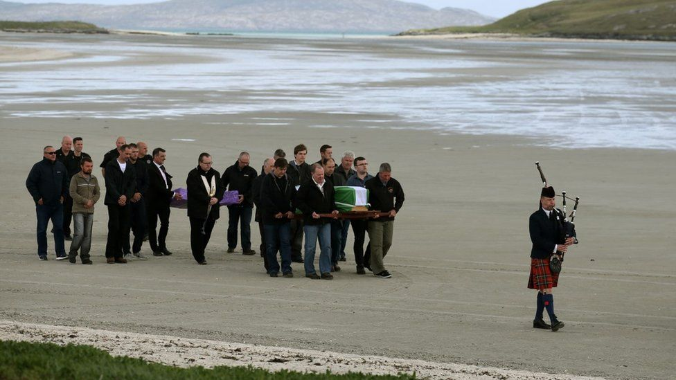 Eilidh MacLeod's coffin being brought along beach in Barra