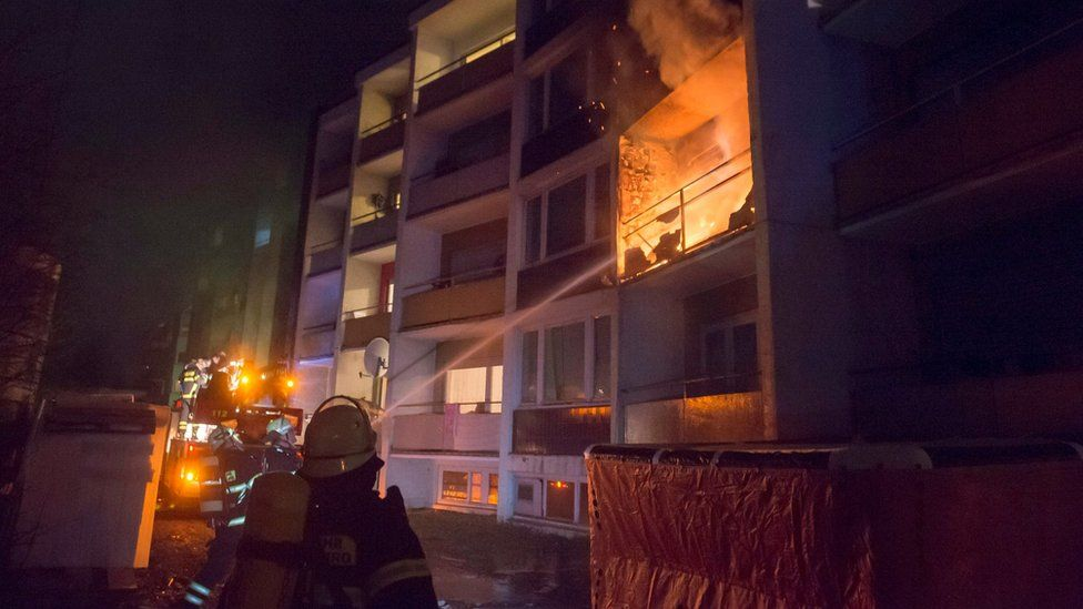 Fire at flats housing asylum seekers in Bad Homburg - February 2017