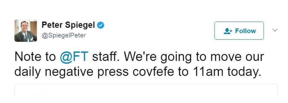 The news editor of Financial Times joked about holding a morning press covfefe