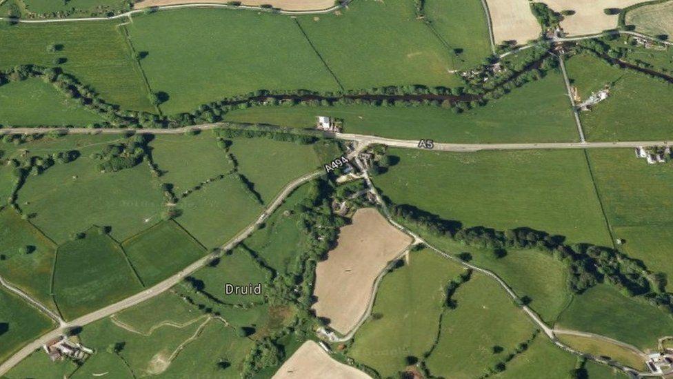 Google map of A5 junction at Druid, near Corwen, Denbighshire