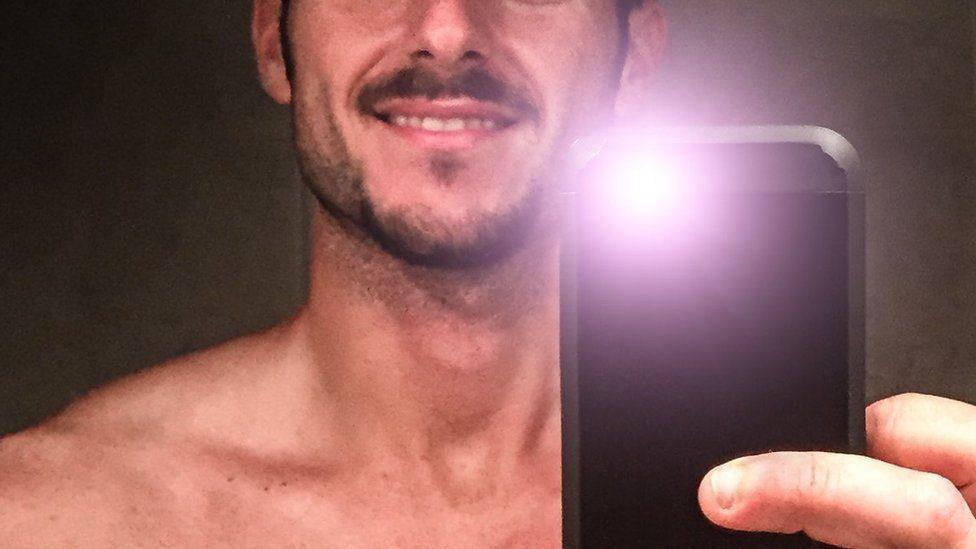 Topless selfie