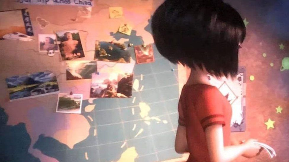 Screenshot showing a girl in front of an Asia map