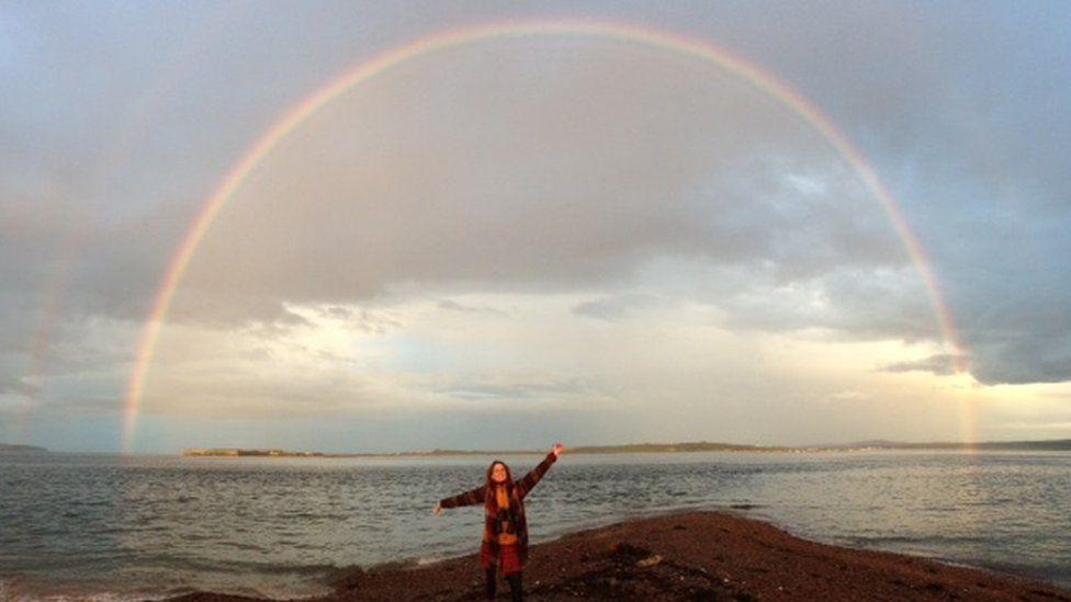 Rainbow over sea