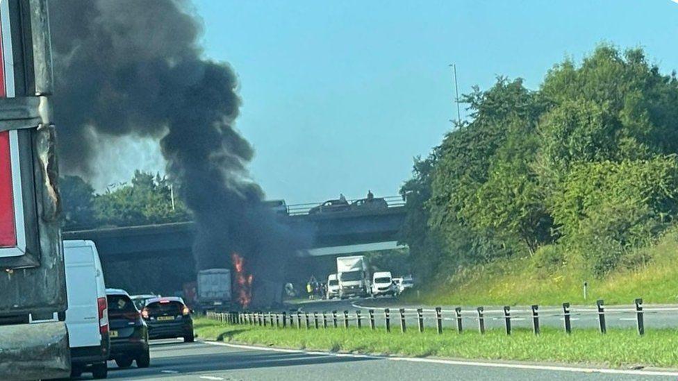 Crash on A1(M) at Bowburn