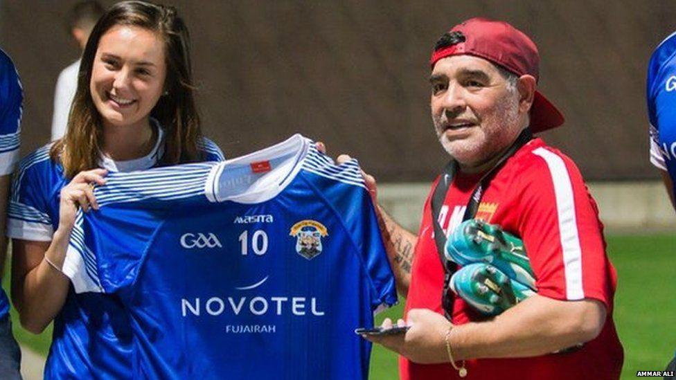 Maradona is presented with a GAA shirt