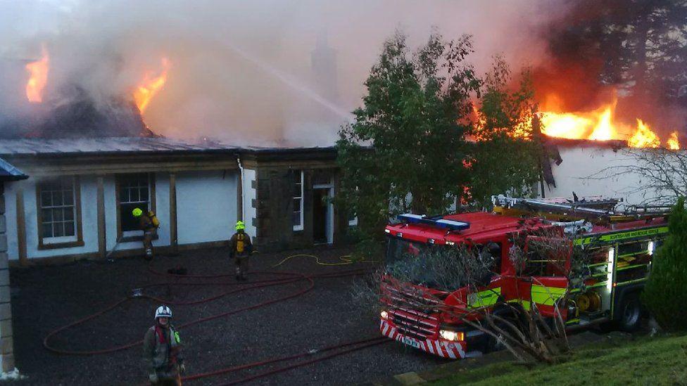 Firefighters at scene of Boleskine House fire