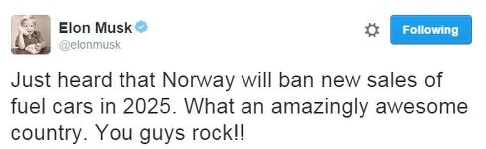Screengrab of Elon Musk tweet