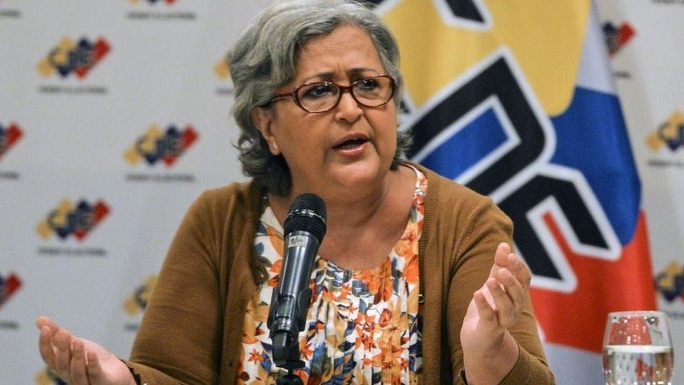 """The president of Venezuela""""s National Electoral Council (CNE) Tibisay Lucena, speaks during a meeting with representatives of the presidential candidates and the Defense Ministry, on May 9, 2018, in Caracas, Venezuela, ahead of the upcoming May 20 presidential election"""