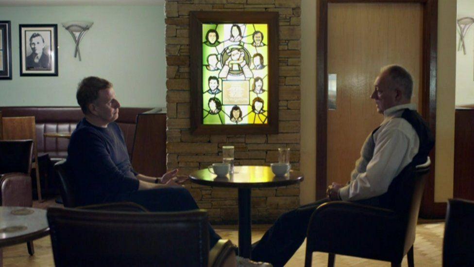 Former IRA commander in the Maze prison, Seanna Walsh, speaking to Patrick Kielty