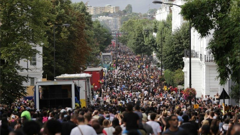 Crowd scene from 2016 Notting Hill Carnival